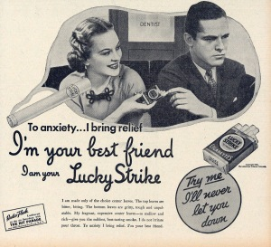 "1933 Lucky Strikes ad. ""To anxiety ... I bring relief."""
